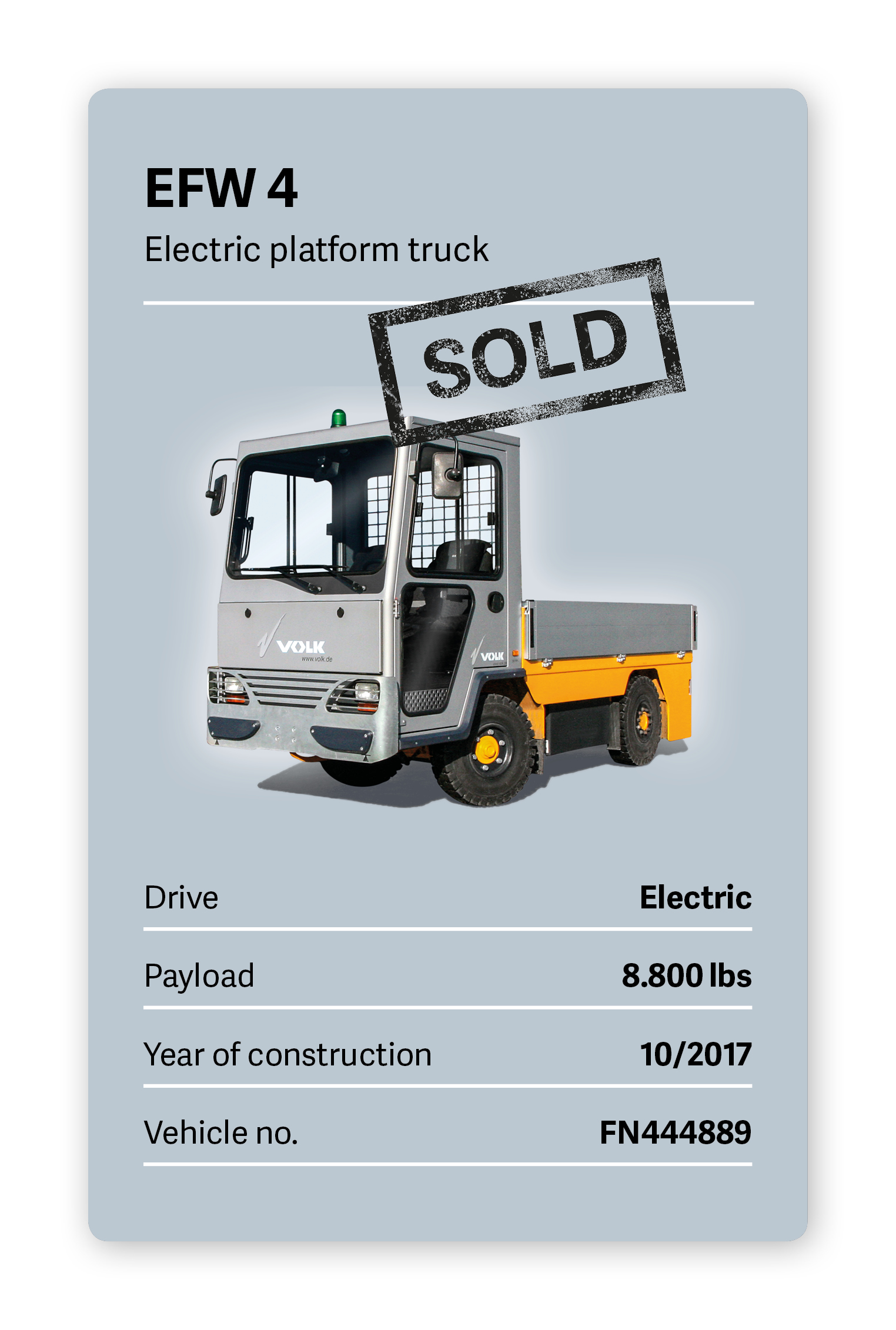 VOLK Electric platform truck EFW 4 Used