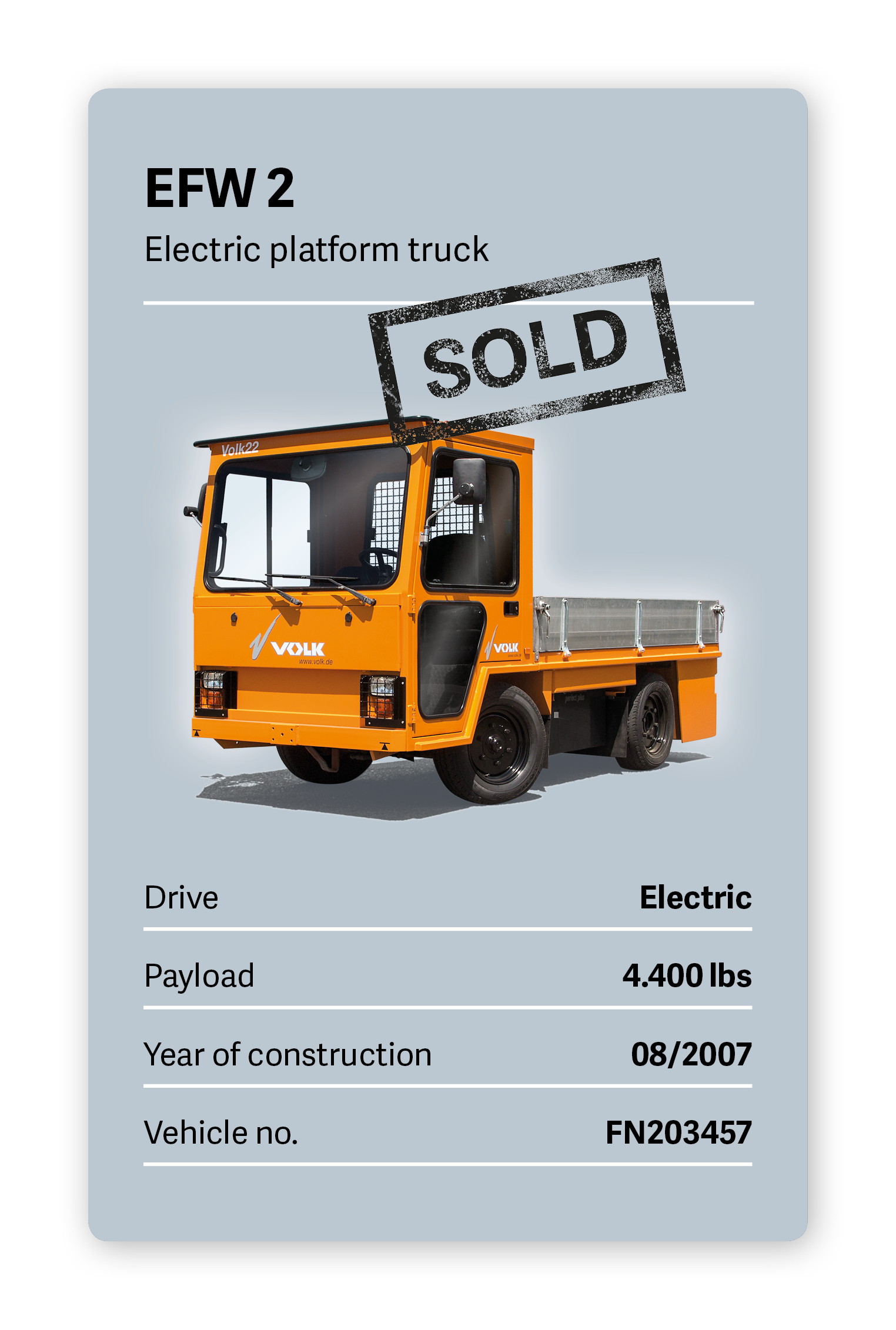 VOLK Electric platform truck EFW 2 Used