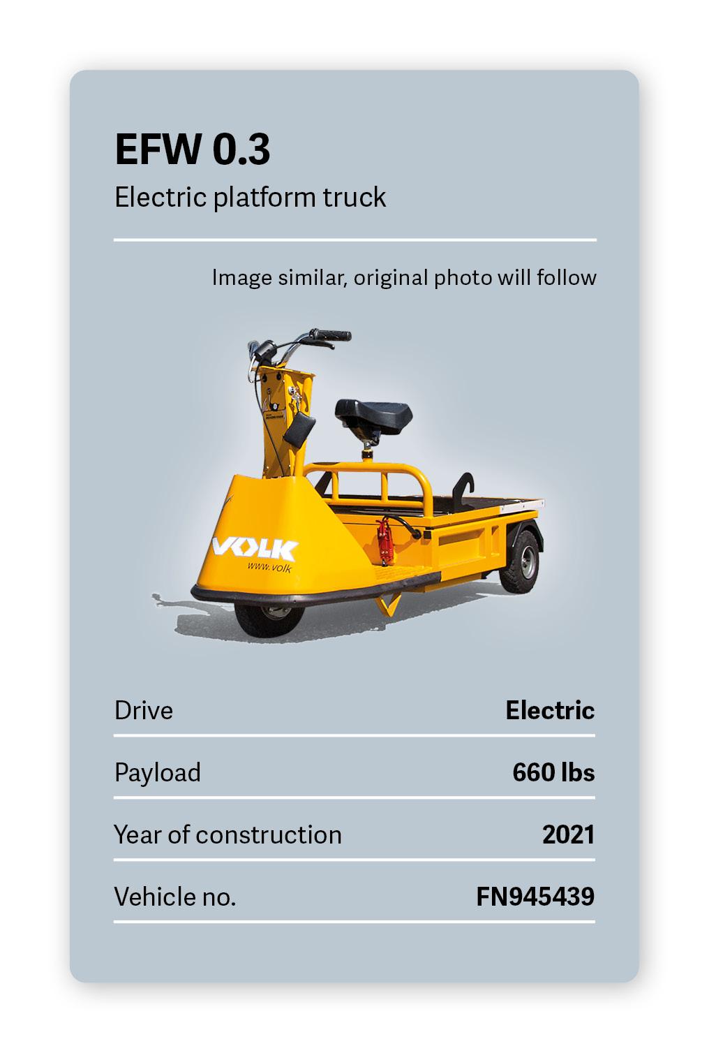 VOLK Electric Platform Tractor EFW 0.3 Used