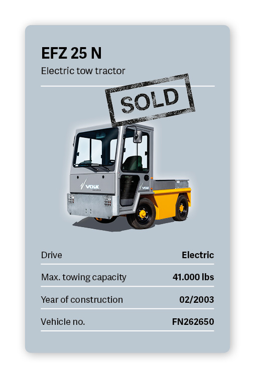 VOLK Electric Tow Tractor EFZ 25 N Used